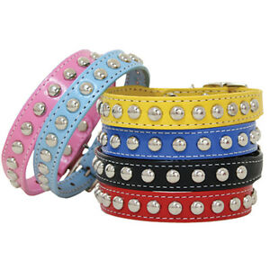 Brand New Auburn Leathercrafters Leather Colorful Studded Dog Pet Collars