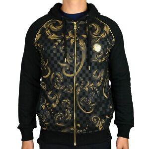 Les Designers Men's Leaf Check Gold Print Full-Zip Hoodie