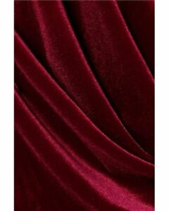 French (Burgundy) 4 WAY Spandex Stretch Velvet Fabric By The Yard// Smooth Back