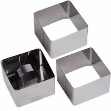 SET OF 3 SMALL STAINLESS STEEL CAKE SQUARE MOULDS Rosti Presentation Food Rings