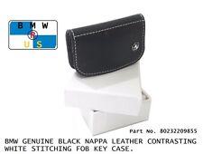 BMW NEW OEM Genuine Black Nappa Leather Contrast Fob Key Case 80232209855