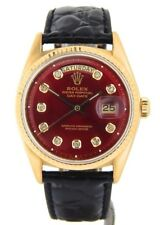 Mens Rolex Day-Date President 18K Yellow Gold Watch Red Diamond Dial Black 1803