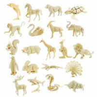 3D Wooden Puzzle DIY Wooden Animal Model Crafts Kits Toy Gift for Kids Boy Girl