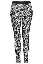 BNWT TopShop Velvet Flocked Trousers Leggings Treggings Floral 6 Side Zip Black
