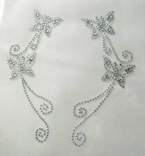 SET / TWO CRYSTAL CLEAR BUTTERFLY RHINESTONE IRON ON APPLIQUE / FIX HOT TRANSFER