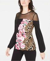 INC International Concepts Womens Printed Illusion Sheer Sheer Top Shirt S M L