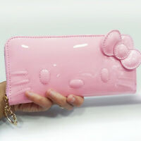 Hello Kitty Lady Girls Patent Leather Card Coin Bag Holder Purse Long Wallet