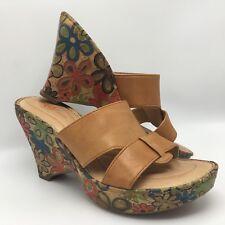 Boutique BORN CROWN Groovy Leather Flower Child Platform Wedge Sandals 9 40.5