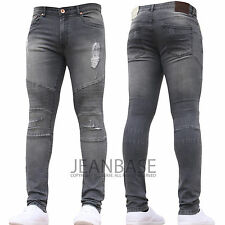 Mens Super SKINNY Stretch Ripped Biker Blue Denim Jeans All Waist Sizes Grey (biker) 34 In. 34l