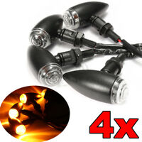 4x Motorcycle Bullet Indicator Light Turn Signal Lamp Amber for Harley