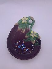 Vintage Fitz & Floyd Majolica Style Eggplant Canape Plate Rare Handcrafted 9�x7�