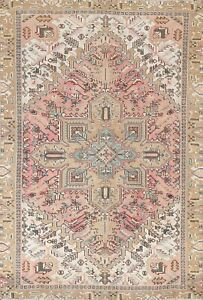 Antique Muted Geometric Heriz Distressed Oriental Area Rug Hand-knotted Wool 6x8