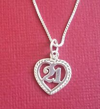Sterling Silver 21 Necklace heart 925 number 21st Birthday Charm pendant n chain