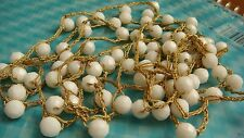 VINTAGE HAND WOVEN BRAIDED NECKLACE WITH WHITE FACETED BEEHIVE BEADS GOLD THREAD