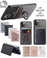 Phone Credit Card Holder Stand Wallet Finger Grip RFID Mobile Case Stick On 360°