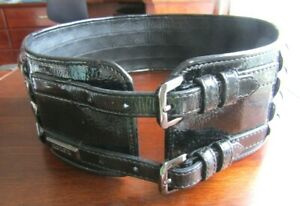 BURBERRY DOUBLE BUCKLE Wide Black Patent LEATHER BELT size 32/80