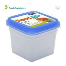 3pk 750ml Plastic BPA Free Square Food Container Storage Box Tub Lunch Set