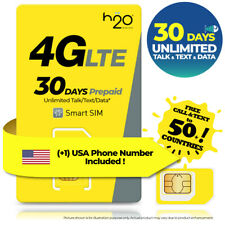 USA 30 Day UNLIMITED DATA TALK TEXT AT&T Travel Prepaid SIM Card 6GB H2O