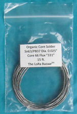 """Kester 66 Organic Core Solder with Flux """"331"""", 63/37 .025"""" 15ft"""