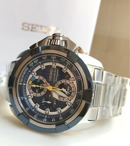 SNAE19P1 Velatura Chronograph Tachymeter Blue Dial Silver Steel Watch for Men
