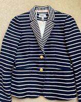 JCREW Women's Schoolboy Blazer in Navy White Stripes - Size 4 EUC