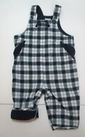 BOYS JANIE AND JACK PARKSIDE PREP NAVY BLUE & GREEN PLAID OVERALLS OUTFIT 0-3 M
