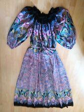 Vintage langes Kleid bunt mit Gummizug an Ausschnitt u. Ärmel, Gr.38