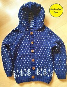 Nordic Style Child's Hoodie, blue hooded sweater, unisex kids wear,