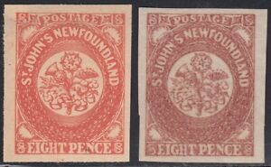 Newfoundland 1857 8d pair Oneglia Forgery, Counterfeit, Fake.