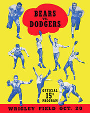 Chicago Bears vs Brooklyn Dodgers - 1940 Game Program Cover, 8x10 Color Photo