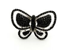 New PJC 925 Sterling Silver Pave Black Spinel Large Open Butterfly Ring Size 9