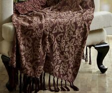 BURGUNDY FLORAL CHENILLE THROW : 100% WOVEN JACQUARD WINE RED BLANKET