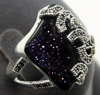 charming Blue Gold Sand Stone Marcasite 925 Sterling Silver Ring Size 7-10