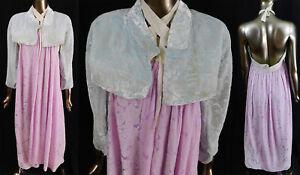 Vintage Korean Hanbok Formal Dress Pastel Pink Blue Devore Voided Velvet Outfit