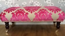 A Quality Footstool In Laura Ashley Lyra Pink Fabric