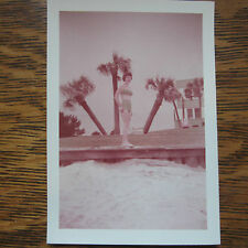 vtg Photo TEENAGER Young LADY on the BEACH IN FASHIONABLE Green BIKINI 1950s