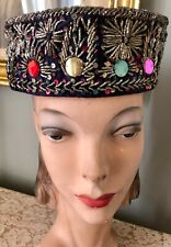Vintage 1950's Blue Deep Pillbox Hat W/ Silver Metallic Embroidery & Sequins