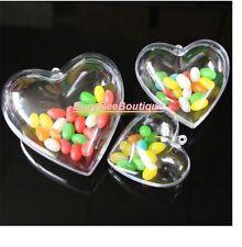 Heart Clear Bauble Plastic 6cm OR 8cm Christmas DIY Baubles 2 Parts Personalise