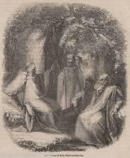 ANTIQUE 1845 PRINT DRUID STONEHENGE WILTSHIRE SOLSTICE PAGAN WICCA RELIGION 3