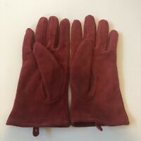 Womens Red Suede Leather Gloves Driving Lined Warm Winter Ladies Size L George