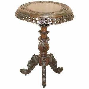 BURMESE CIRCA 1880 ANGLO INDIAN ROSEWOOD TILT TOP CENTRE OCCASIONAL SIDE TABLE