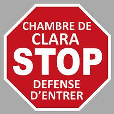 STOP CHAMBRE PRENOM FILLE GARCON PERSONNALISE AUTOCOLLANT STICKER PORTE MUR