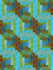 12 Block Batik Log Cabin Quilt Kit Pre-Cut  CARIBBEAN BREEZE Moda Fabric  NEW