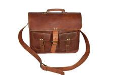 "15"" Leather Messenger Satchel Laptop Brief Case Genuine Leather School Bag"