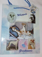 Whippets Greyhounds Gift Bag Dogs Present Handles Blue Tag Best Friend New