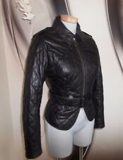 Barbour Gold label Temperley BLACK REAL LEATHER FITTED BIKER JACKET COAT SIZE M