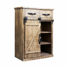 Farmhouse Storage Cabinet Sliding Barn Door Wood End Table Console