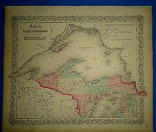 Antique 1862 Colton Atlas Map ~ LAKE SUPERIOR - NORTH MICHIGAN ~ Old & Original