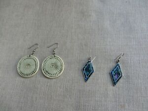 2 pairs quality Gallery purchase St Ives earrings ceramic signed/ shell diamond