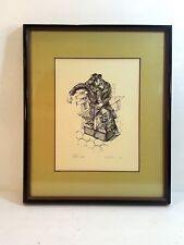 "BAGEL PEDDLER VINTAGE PRINT SIGNED BY ARTIST, ""NORI"" DATED 1943 18.25"" X 15"""